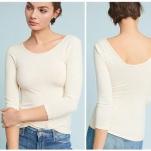 Anthro Dolan ballerina style scoop neck cream tee